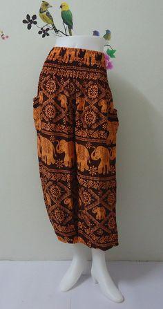 Orange elephants jumpsuit pant really awesome Etsy listing at https://www.etsy.com/listing/192104429/orange-black-elephants-ladiess-harem