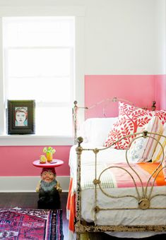 Half-Painted Walls.  This is such a simple idea, that can add architectural interest to a simple room.  So cute in pink! Try: Benjamin Moore Sweet Pink TC-26 http://www.myperfectcolor.com/en/color/379052_Benjamin-Moore-TC-26-sweet-pink to get this look.