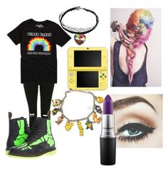 """Untitled #3"" by karmaakbane on Polyvore featuring Topshop, Dr. Martens, Nintendo and MAC Cosmetics"
