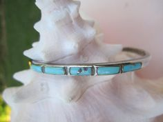 SOLD**SOLD  Petite Vintage Zuni Sterling Silver and Turquoise Cuff.  Was $143, now just $98 plus shipping.  Find this, and other Native American Indian jewelry, at TwinAntiques on Etsy.com.