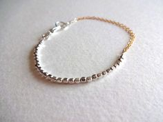 14k Gold Fill Double Chain and Sterling Silver Bead Delicate Bracelet on Etsy, $28.00
