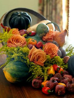 Add fresh flowers to a traditional cornucopia