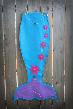 Magical Mermaid Tail Turquoise tail with Purple and by TheLazyOwl, $45.00