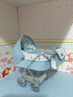 1/12th scale modern dolls house pram/stroller/buggy blue needlecord with blue cute bunny lining, hand crafted miniature