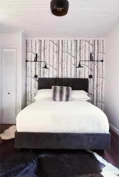 bedroom wall sconces and birch tree wallpaper Bedroom Lighting, Wall Sconce Lighting, Wall Sconces, Bedroom Decor, Wall Lamps, Tree Wallpaper Bedroom, Wood Wallpaper, Forest Wallpaper, Boho Deco