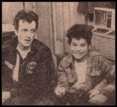 Joe Strummer & Harley Flanagan (Cro-Mags) aged 12. backstageat NYC palladium