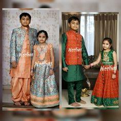 Kids Saree, Kids Kurta, Kids Lehenga, Indian Dresses For Girls, Dresses Kids Girl, Kids Dress Wear, Kids Wear, Family Outfits, Kids Outfits