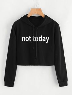 To find out about the Slogan Print Crop Hoodie at SHEIN, part of our latest Sweatshirts ready to shop online today! Teenage Outfits, Teen Fashion Outfits, Mode Outfits, Outfits For Teens, Trendy Outfits, Girl Outfits, Simple Outfits, Ladies Fashion, Fashion Fashion