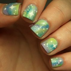 Mattified pastel galaxy nails...