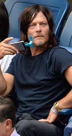 """reedus-place: """"""""I'm man enough to pull off using this tiny little fan. Walking Dead Memes, The Walking Dead 3, Daryl Dixon, Carl Grimes, Dream Guy, Norman Reedus, Good Looking Men, S Pic, Beautiful Men"""