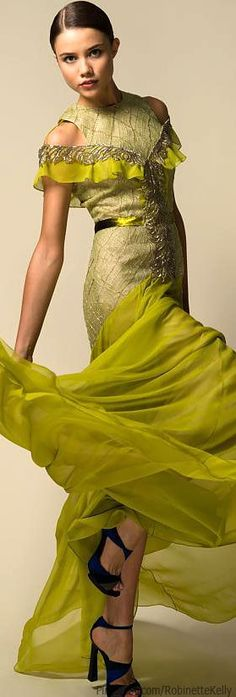 Bibhu Mohapatra | Resort 2014. OMG! I really love this gown. It's exuberant and interesting, especially the neckline. I love a fitted bodice that flares in to a dramatic, gossamer skirt when the hemline looks like it's floating.