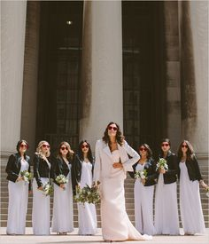 bridesmaids in leather jackets @weddingchicks