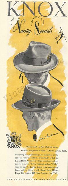 Knox Men's Hats Original 1948 Vintage Print Ad by VintageAdarama, $9.99