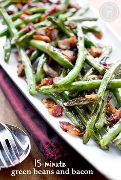 Green Beans and Bacon A quick and easy side dish that's perfect for holidays or everyday dinner. Vegetable Side Dishes, Side Dishes Easy, Thanksgiving Side Dishes, Thanksgiving Recipes, Side Dish Recipes, Vegetable Recipes, Cooking Recipes, Healthy Recipes, Drink Recipes