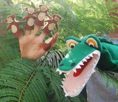 Crocodile Hand Puppet & 5 Cheeky Monkey Finger Puppets. $50.00, via Etsy.