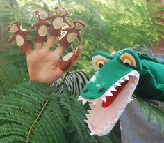 Crocodile Hand Puppet & 5 Cheeky Monkey Finger Puppets. $50.00, via Etsy.