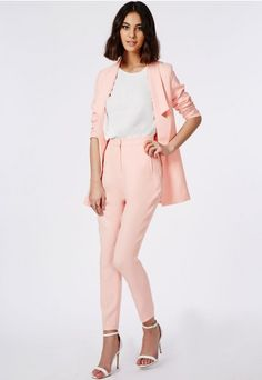 High Waisted Cigarette Trousers Soft Pink - Trousers - Missguided