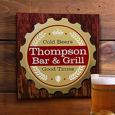 This is so cool - it's a personalized canvas sign for guys - This is a great Father's Day gift idea or Groomsmen Gift idea for weddings ... they can keep it in their man cave or above their bar at home!