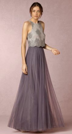 Two Piece Sleeveless Purple Tulle Skirt Bridesmaid Dress