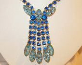 New Year's Party Jewels - VJSE Group Team    Vintage Royal Blue & Light Blue Marquise Rhinestone Drop Necklace  by MarlosMarvelousFinds $25.88