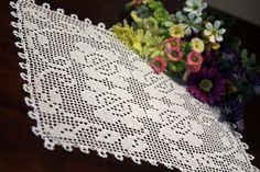 This beautiful handmade doily is made from white cotton thread #10. This design will look beautiful on any table or under any piece of art in your home. It will make lovely gift for someone special. You could frame it and make it beautiful wall piece. It is machine washable, lay flat to dry, touch up with iron and spray starch if desired. It comes lightly starched. approx. size is 20x 16 Thanks for looking. ✿.。.:* ☆:**:✿.。.:* ☆:*✿.:.☆*.:。.✿ http://DoilyMania.etsy.com ✿.。.:* ☆:...