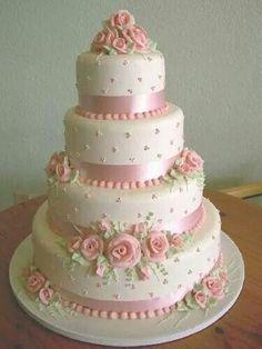 Pretty in pink wedding cake Elegant Wedding Cakes, Elegant Cakes, Beautiful Wedding Cakes, Gorgeous Cakes, Pretty Cakes, Cute Cakes, Amazing Cakes, Fondant Cakes, Cupcake Cakes