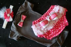 NEWBORN baby girl take home outfit onesie grey slate charcoal hot pink polka dots bloomers bows rhinestones headband via Etsy