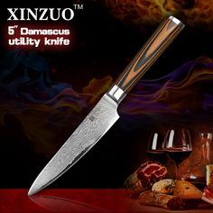 """XINZUO 5\"""" Utility knife Japanese VG10 Damascus steel kitchen knife paring fruit knife colour wood handle wholesale FREE SHIPPING >>> Want additional info? Click on the image."""