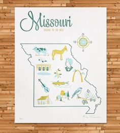 Vintage-Inspired Missouri Map Print   This vintage-inspired map series is inspired by vintage tea to...  