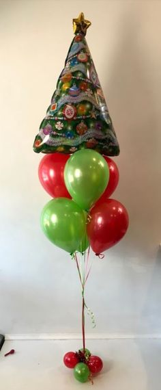 christmas tree balloon with 6 latex balloons below suitable for floor and table - Christmas Party Decorations Pinterest