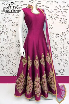 PalkhiFashion Exclusive Full Flair Dark Pink Color Outfit Nicely Handmade With Stones and Embroidered Work On Neck and Bottom With Nice Design Mode Bollywood, Bollywood Fashion, Indian Gowns, Pakistani Dresses, Indian Designer Outfits, Indian Outfits, Traditional Fashion, Traditional Outfits, Anarkali Dress