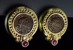 Ancient Roman Style Antique Coin Diamond Ruby 14K Yellow Gold Earrings | eBay