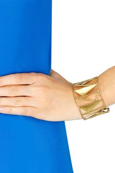 Dull gold gloss finish handmade cuff by Chicory Chai. Shop at www.perniaspopupshop.com #new #designer #fashion #jewellery #couture #shopnow #perniaspopupshop #happyshopping
