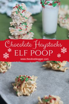 Elf Poop Cookies - A White Chocolate Haystack Recipe They're super fun, quick and easy to make, perfect to share at your Christmas and Holiday Parties! Christmas Cookie Exchange, Christmas Sweets, Christmas Goodies, Christmas Candy, Xmas Food, Christmas 2019, Christmas Holidays, Christmas Ideas, Christmas Gifts