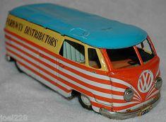"Vintage 1950s Bandai Tin Litho Friction Volkswagen VW Bus Van 8""~~"