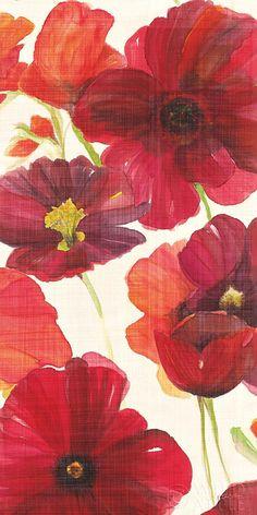 Red and Orange Poppies II Crop I by Ellen Gladis