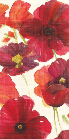Red and Orange Poppies II Crop I by Ellen Gladis