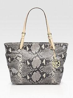 MICHAEL MICHAEL KORS Snake-Print Leather Tote Bag - Dark Sand