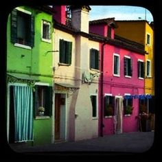 a print by Through the Viewfinder  houses are in Burano, Italy