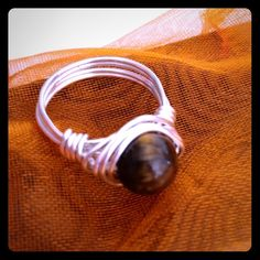 Tigerseye Gemstone Ring Beautiful TigersEye Gemstone  HandWrapped with Sterling Silver Plated Wire! ⭐️ Also Available in Brass( gold) Wire. Size 8 or Custom Size Available Jewelry Rings