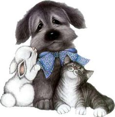 PUPPY, KITTEN AND BUNNY