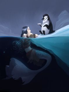 A penguin telling his friend a story~