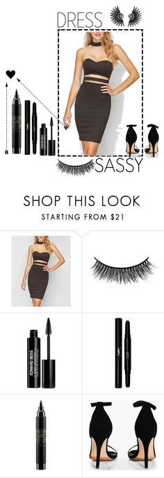 """Little black Heart"" by xx-britney-a ❤ liked on Polyvore featuring Selfie Leslie, Battington, Edward Bess, Yves Saint Laurent, MAC Cosmetics and Boohoo"