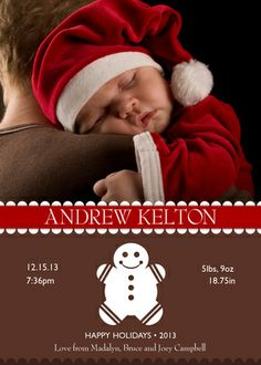 Holiday Birth Announcements - Gingerbread Christmas Birth Announcements