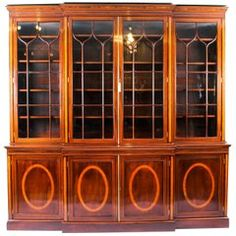 View this item and discover similar for sale at - Finest custom quality J. Zonan mahogany and satinwood inlaid bookcase / breakfront. Flame mahogany breakfront with satinwood inlay. Mahogany Furniture, Vanity Box, Grand Designs, Key Design, Brown Wood, Adjustable Shelving, Three Dimensional, Furniture Making, French Antiques