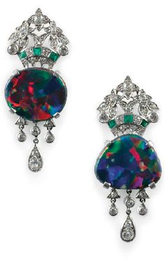 Art Deco Black Opal Earrings with Diamonds and Emeralds set in Platinum.