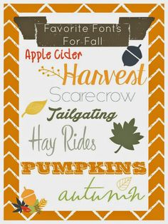 Favorite Fall Fonts. Perfect for invites, printables, school projects, etc. #fonts #script #free