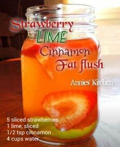 Summer Detox Water Round Up - strawberry, lime, cinnamon - fat flush Smoothies, Smoothie Detox, Smoothie Drinks, Detox Drinks, Detox Juices, Cleanse Detox, Diet Detox, Detox Meals, Infused Water Recipes