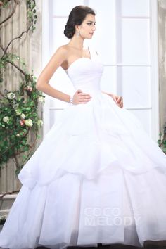Hot Sale Princess One Shoulder Floor Length Organza Wedding Dress CWZF13005 #weddingdresses #cocomelody