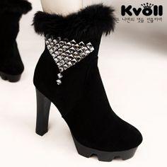X56161 Kvoll Winter Fluff Rhinestone Joker Side Zipper High-heeled Mid Boots Black